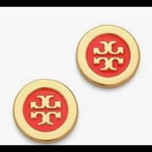 Tory Burch Red & Gold Laquered Logo Studs